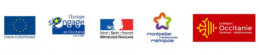 """Le BIC de Montpellier est cofinancé par l'Union Européenne, """"L'Europe s'engage en Occitanie"""" avec le Fonds Social Européen, Montpellier Méditerrannée Métropole et la Région Occitanie."""