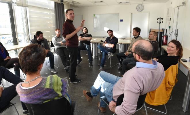 Photos de dirigeants et de porteurs de projets au BIC de Montpellier